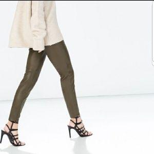New Zara faux leather pants Olive green sz XL